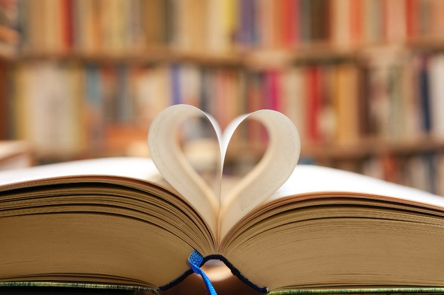love for read book heart formed pages